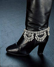 """SILVER TONE COIN 12"""" BOOT ANKLE BRACELET ANKLET BRIGHT BELLS INDIA BELLY DANCE"""