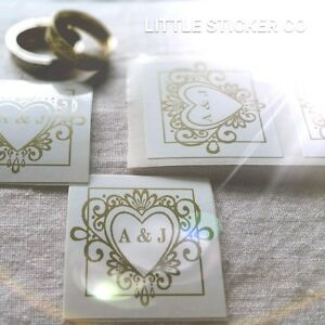 6fcb29d2c67b Details about Wedding Stickers Personalised with initials gloss white and  gold heart x100