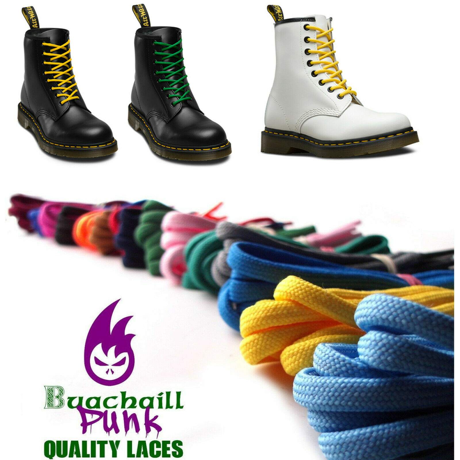 210cm Shoelaces Replacement Dr Martens 1914 Boots Colours Lace Long 12 14 eyelet
