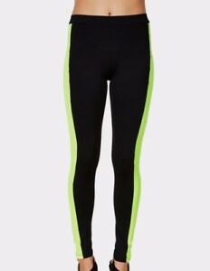 Rune-NYC-Women-039-s-Kat-Tuxedo-Legging-Black-Neon-Size-Large