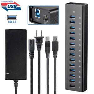 13 Port USB 3.0 Hub 5Gbps Super Speed w/ 2.4A Charging Port & AC Power Adapter