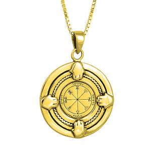 Pendant-Profusion-Seal-King-Solomon-Amulet-Pentacle-w-Hamsa-Gilding-18K-Silver