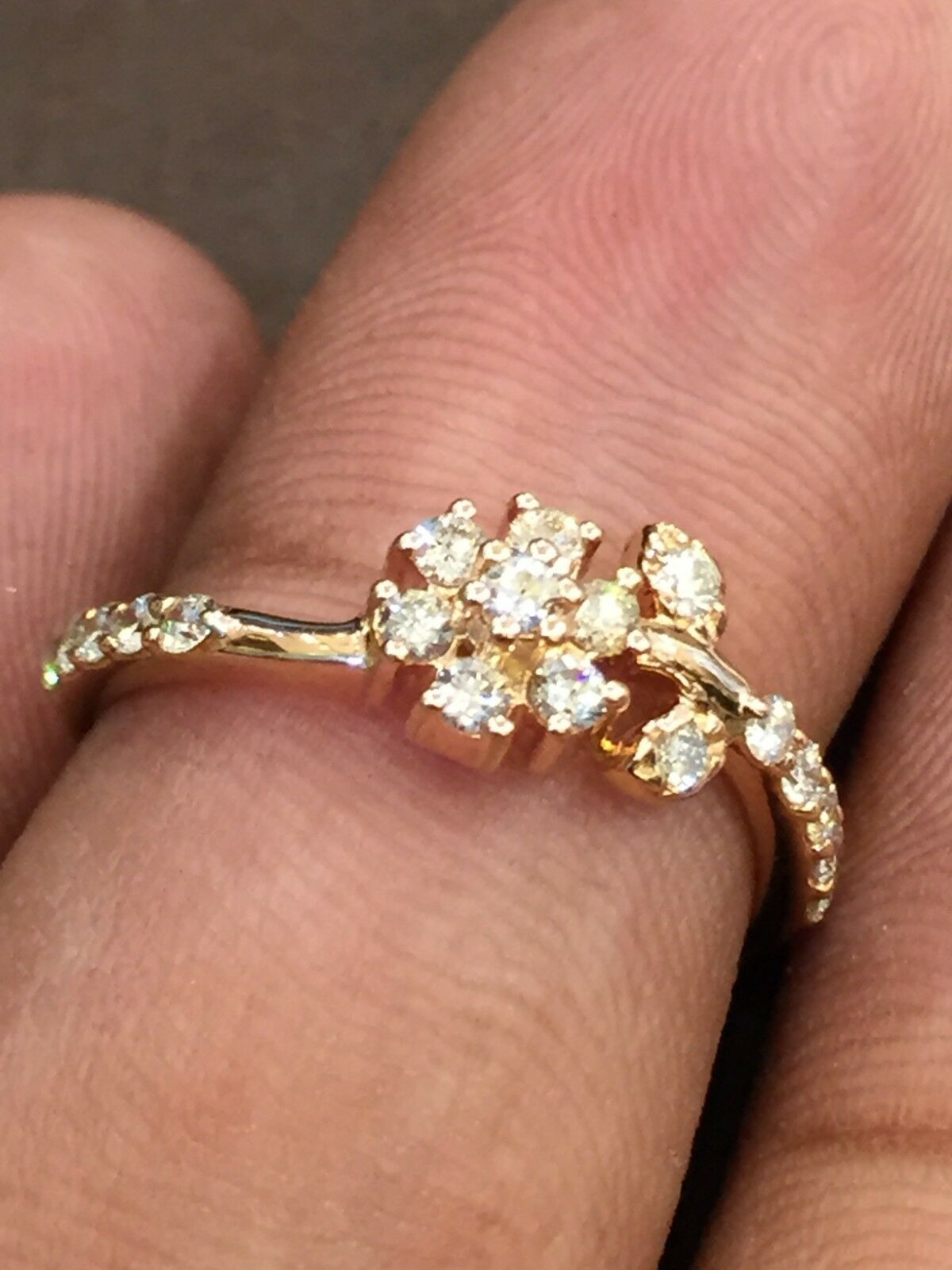 0.45 Cts Round Brilliant Cut Natural Diamonds Engagement Ring In Solid 14K gold