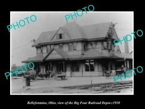 OLD-LARGE-HISTORIC-PHOTO-OF-BELLEFONTAINE-OHIO-BIG-FOUR-RAILROAD-DEPOT-c1910-2