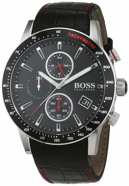 Hugo Boss Rafale 44mm Black Leather Band Steel Case Quartz Men's Watch 1513390