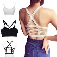 Women Yoga Running Crop Top Bralette Blouse Strappy Bra Tank Top Sports Tops