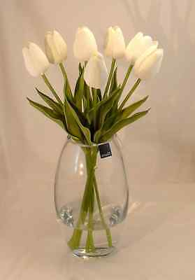 New Real Touch Artificial Fake Tulip White Clear Vase Flower Arrangement