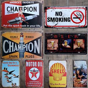 Vintage-Retro-Metal-Tin-Sign-Poster-Plaque-Wall-Home-Decor-034-Garage-Motor-Oil-034
