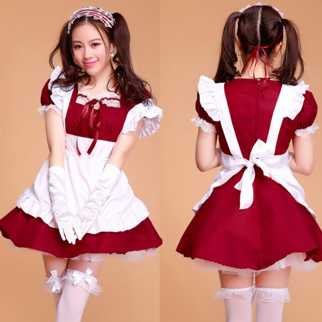 2015 Cosplay Dark Red Maid Outfits Costume Women sexy Beer Party Dress Set apron