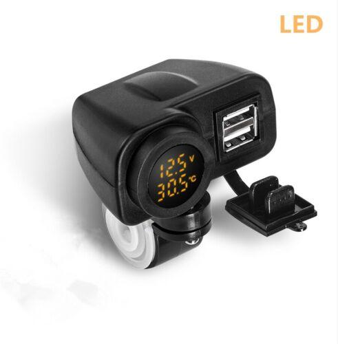 Universal dual USB Cargador coche moto hembra conector Voltmeter termómetro