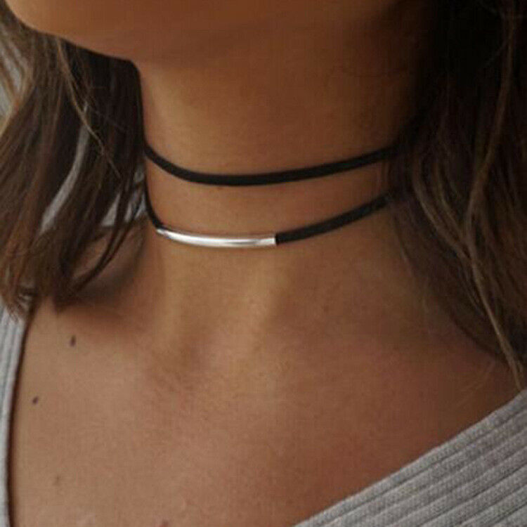 Multi-layer Neck Chain Curved Choker Double Necklace Collar