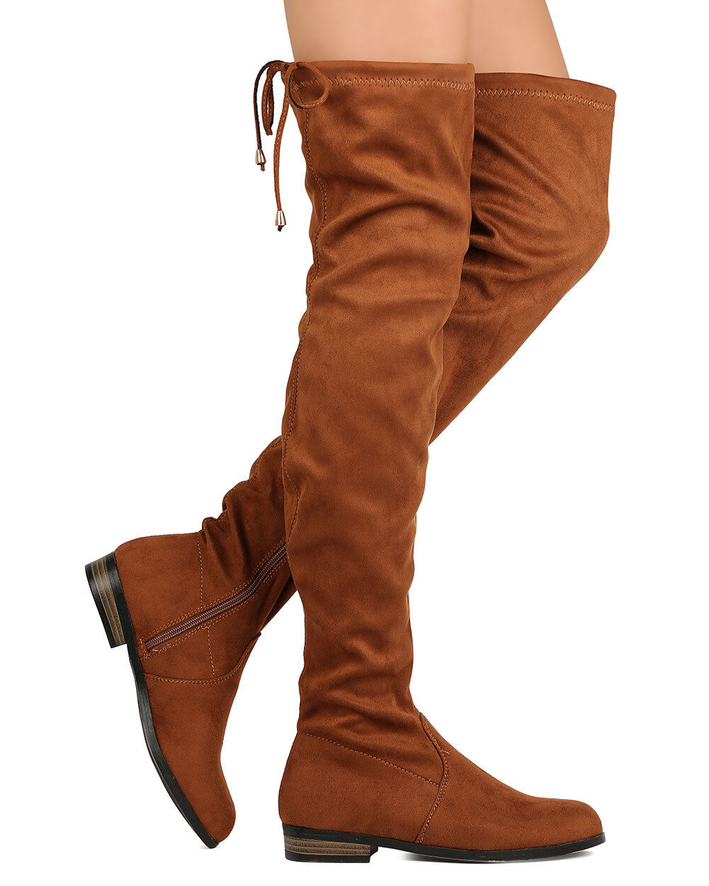 New Women Refresh Miles-01 Faux Suede Thigh High Drawstring Riding Boot