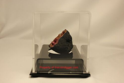 BCW BallQube Fossil Mineral Geode Amethyst w// Acrylic Mirror Base Display Case