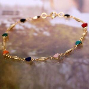 Fashion-Women-18K-Gold-Plated-Bracelet-Bangle-Multicolor-Zircon-Heart-Bracelets