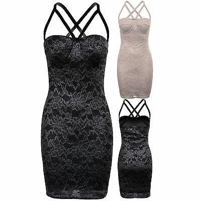 Ladies Sleeveless Cross Back Caged Metallic Lace Overlay Lined Bodycon Dress