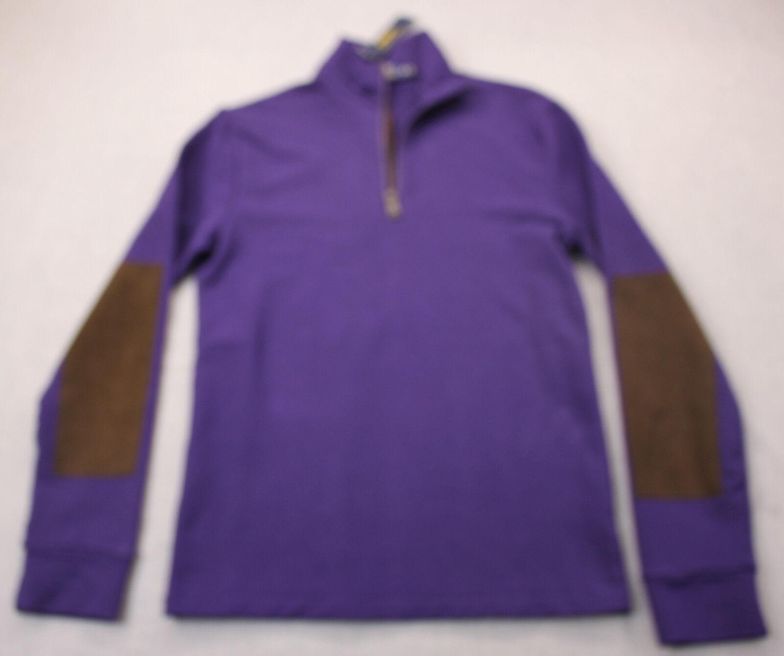 RALPH LAUREN POLO Mens Purple Leather Elbows Half Zip Stretch Sweater NWT S
