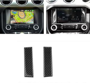 2x Carbon fiber Interior GPS screen Decorative trim for Ford Mustang 2015-2017