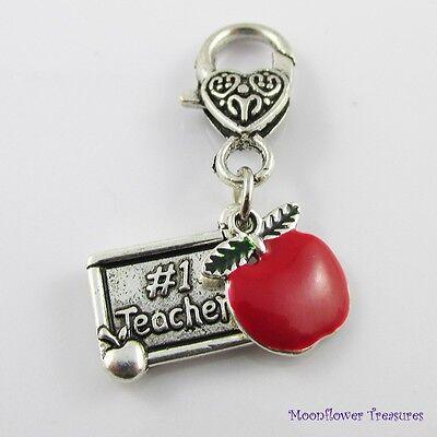 Teacher Gift Apple #1 Teacher Clip on Charm for Lanyard Keychain Bag Zipper Pull