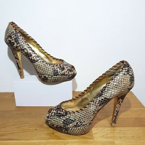 RRP-125-TED-BAKER-Brown-Leather-Snakeskin-Peep-Toe-Court-Shoes-Size-6-Stilettos