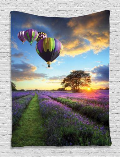 Lavender Hot Balloon Sunset Tapestry Wall Hanging Living Room Bedroom Dorm Decor