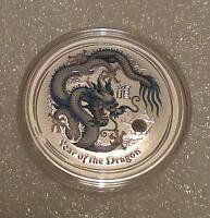 "Australian Lunar II ""Year of the Dragon"" (White) 2012 1 Oz Silver coin"