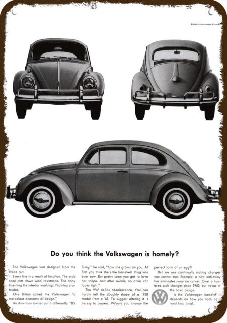1960 Volkswagen Beetle Car Vintage Look Replica Metal Sign Is The Vw Bug Homely