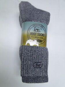 c692313f2b4b7 3 pair Men's Outdoor Life 71% Merino Wool Thermal Boot Socks 10-13 ...