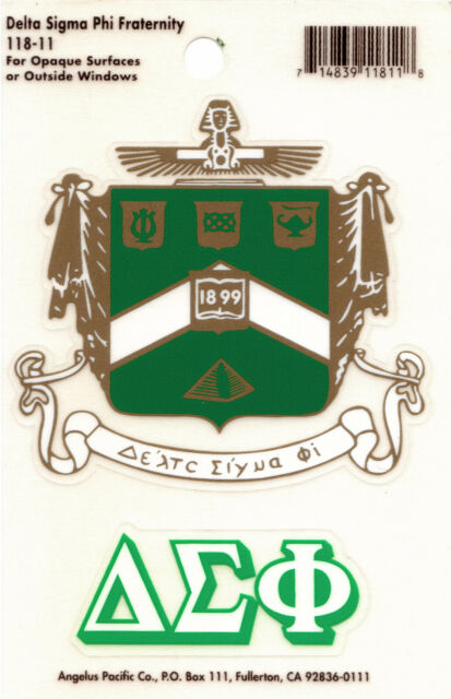 Delta Sigma Phi, ΔΣΦ, Crest & Letter Vinyl Decal Combo  Indoor/Outdoor Use NEW
