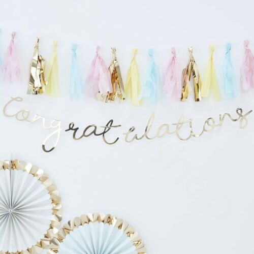 Gold Pastel Happy 1st Birthday Banner Boy Girl Party Bunting Garland Decorations