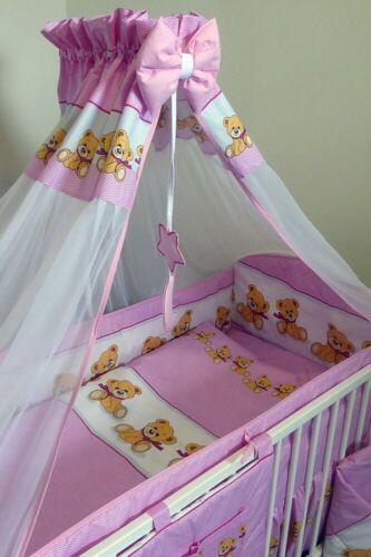 Bettset Baby 8-9 tlg Bettwäsche Nestchen Himmelstange fur Bett  120x60  Bear