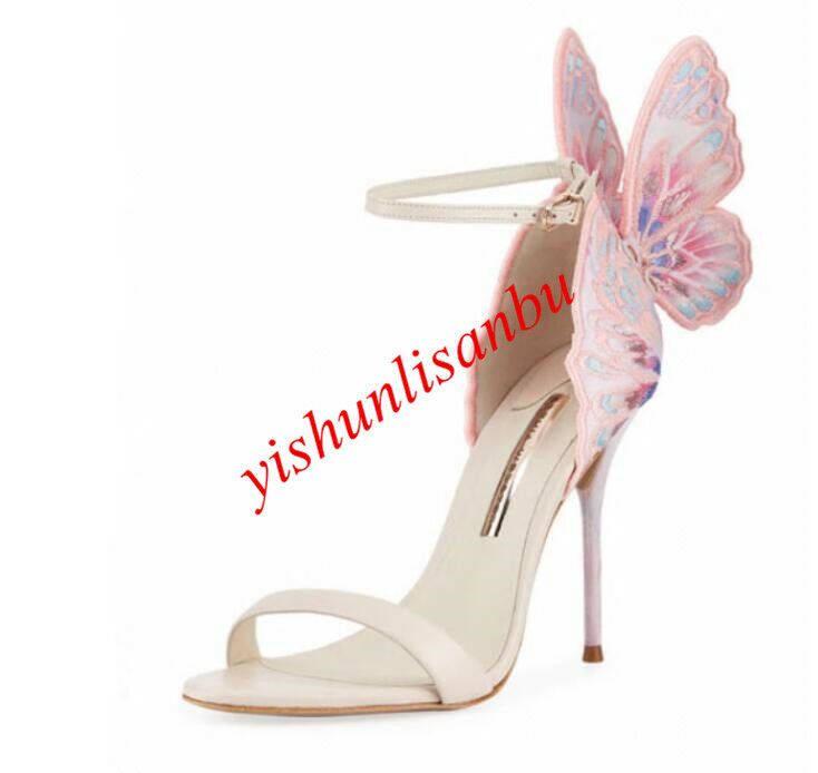 Donna Multicolor Shiny Pelle High Heel Sandal Pumps Butterfly Party Shoes New