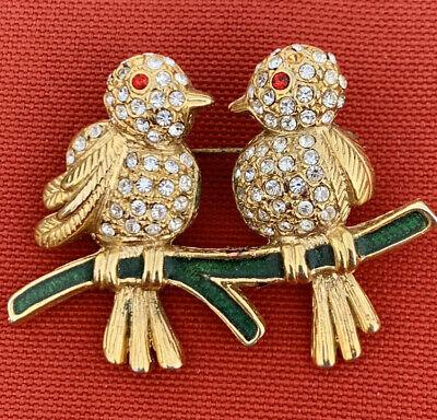 Bird Brooch with Red Crystal Eye Gold Plated Parrot Brooch Exotic Bird Brooch