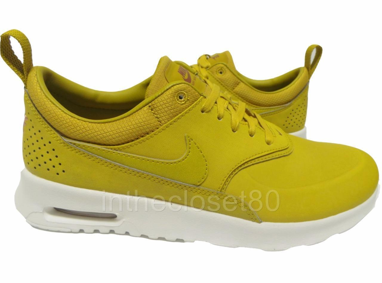 Zapatos casuales salvajes Barato y cómodo Nike Air Max Thea Premium Leather Dark Citron Sail Womens Trainers 616723 303