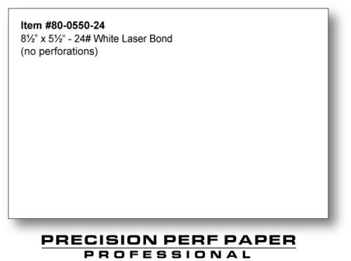 24 lb Half Sheet Paper 8.5 x 5.5-550 Sheets