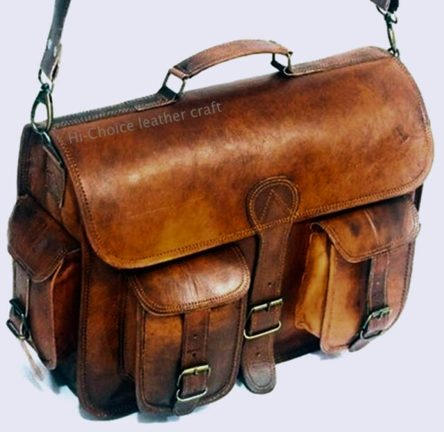 """15""""Men's Genuine Vintage Brown Leather Messenger Bag Shoulder Laptop Leather Bag"""