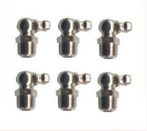 6 Pieces Grease Fitting UNF 1//4-28 Zerk Nipple Taper 90 Deg Degree L-@J1