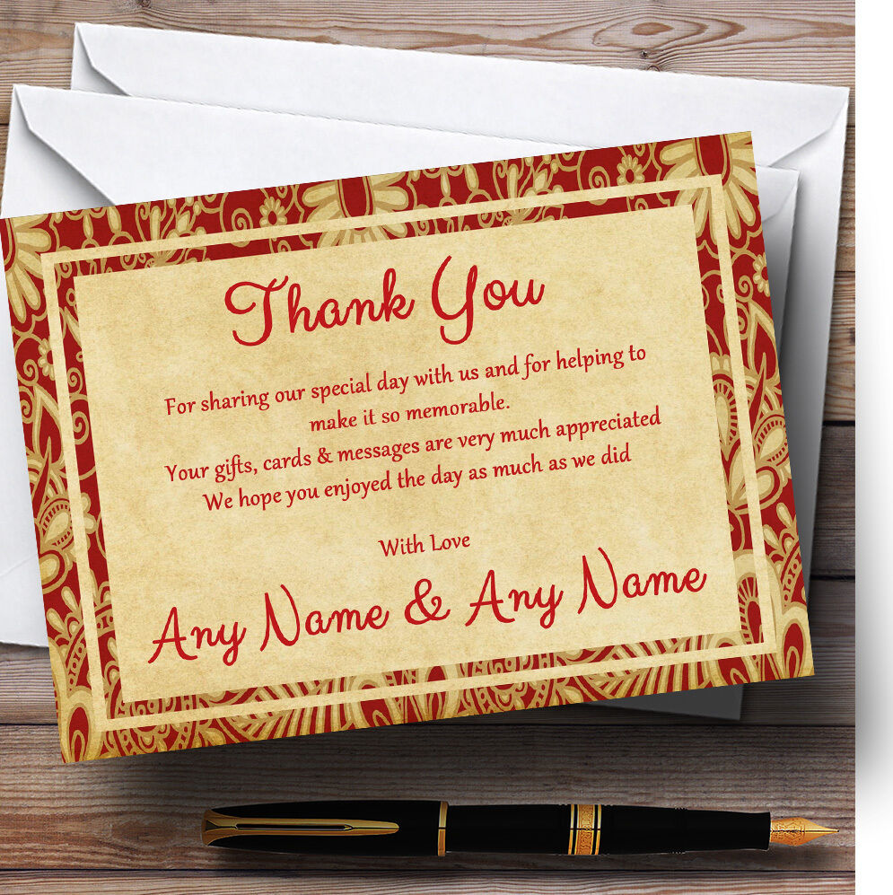 Vintage Royal rot Postcard Style Personalised Wedding Thank You Cards