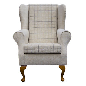 High Wing Back Fireside Chair Stone Check Fabric Seat Easy ...