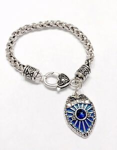 Details About Police Charm Bracelet Blue Badge Shield Gift Officer Wife Friend Mom Jewelry