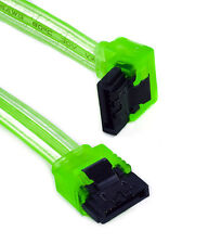 """18"""" UV Green SATA III Cable 90 Right Angle to 180 Straight 6GB/s HDD SSD Gaming"""