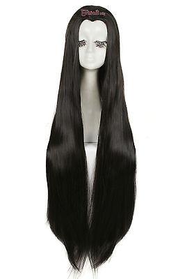Lolita Nikki Black Beauty Tip Long Straight Hair Widow's Peak Anime Cosplay Wig