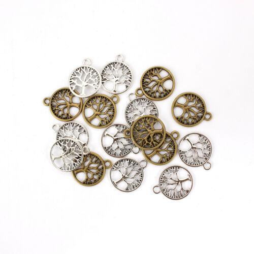 20x Tibetan Silver//Bronze Tree Life Charms Pendants DIY Jewellery Making 20*20mm