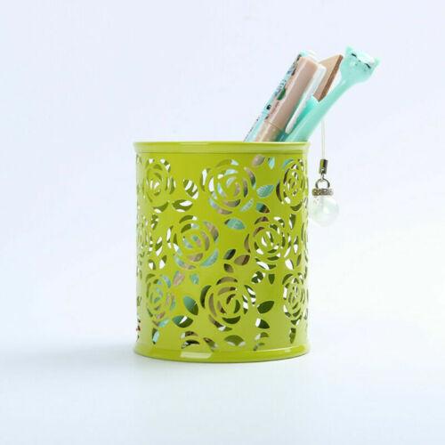 New Hollow Flower Pattern Cylinder Pen Pencil Pot Holder Container Organizer