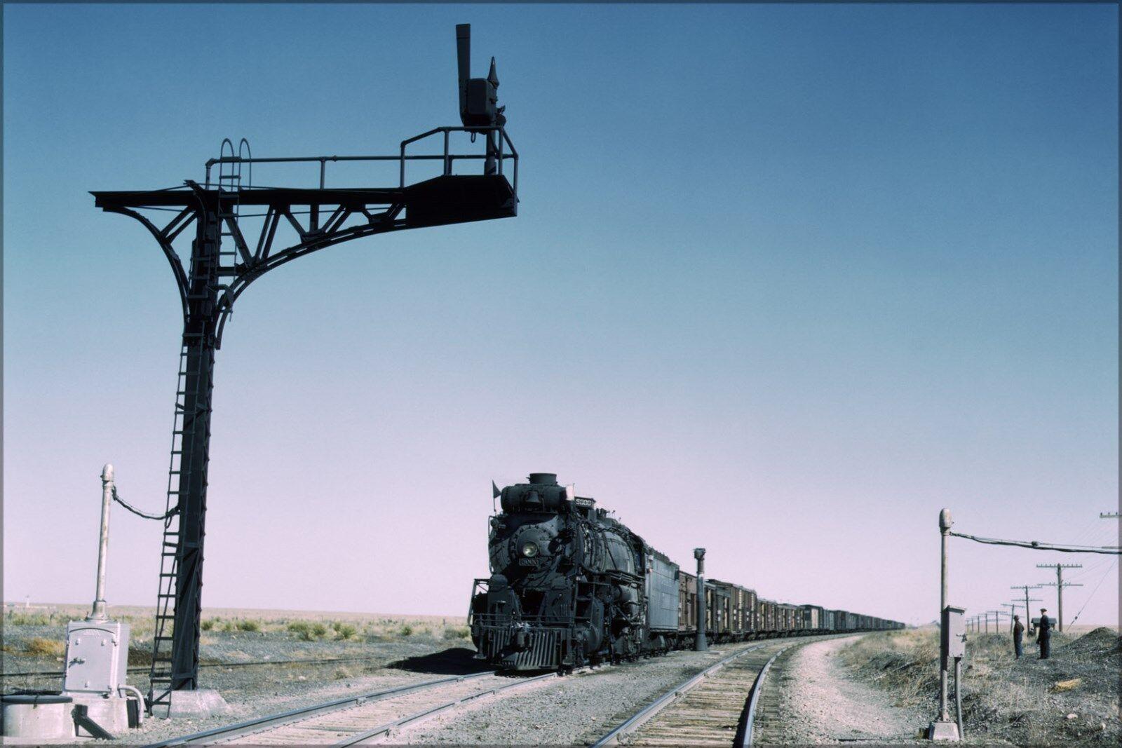 Poster, Many Größes; Santa Fe Railroad Freight Train Steam Engine, New Mexico 194