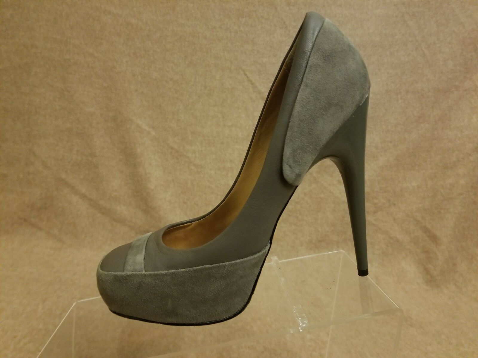 L.A.M.B. Damens Leder Square Suede Gray Square Leder Toe High Heel Pumps Schuhes Größe 6.5 M 37e23f