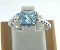 14 Karat White Gold 1.53 Ct Blue Topaz & 0.07ct Diamond Ring Size 6 1/2 D19