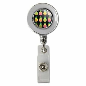 Colorful-Pineapples-Pattern-Retractable-Reel-Chrome-Badge-ID-Card-Holder-Clip