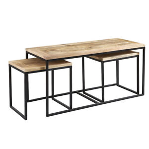 Industrial Metal Wood Long Coffee Table Set With 2 Stool Living Room Furniture 7425604180119 Ebay