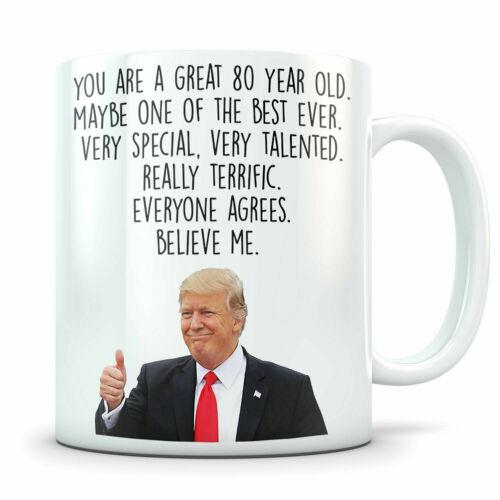 80 Birthday Gift for Grandma Grandpa Donald Trump Mug 80th Birthday Gift