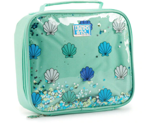 Shakable Sequins Stars Sea Shells Green Limited Too MERMAID LUNCH Tote Bag box